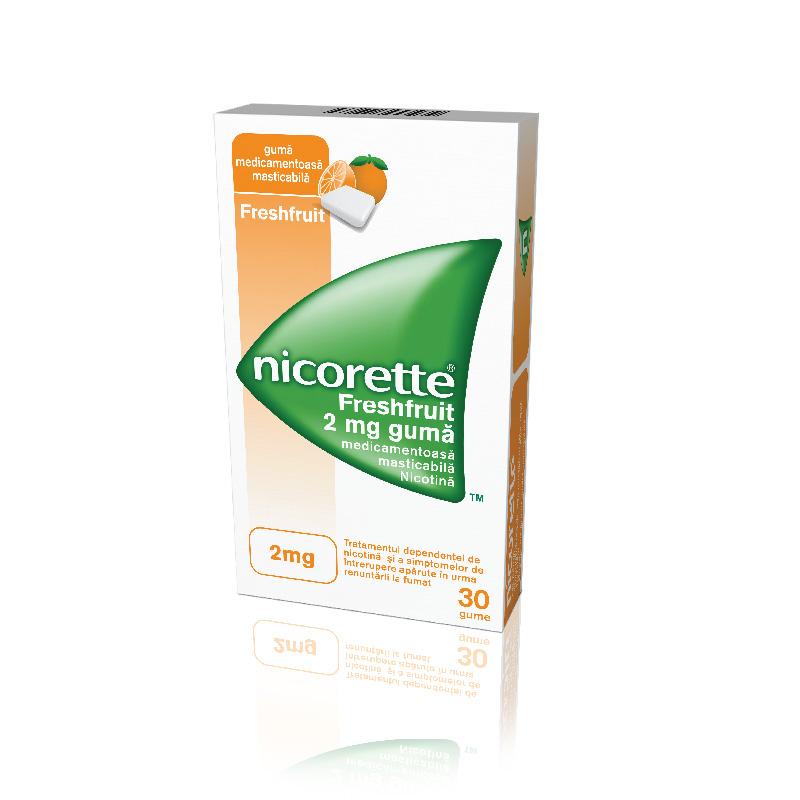 Nicorette Freshfruit gumă de mestecat împotriva fumatului, 2mg, 30 gume, Mcneil