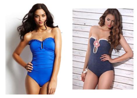 Costum de baie sexy culoare uni, bikini fără bretele
